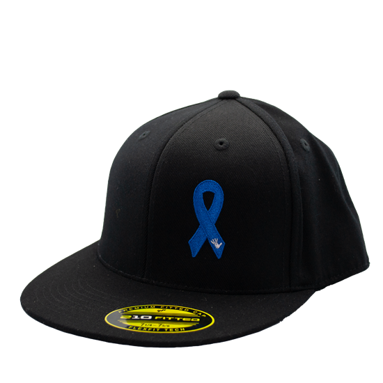 Child Abuse Awareness Hat Flat Bill w/ Awareness Ribbon and Protect The Children Inc Front