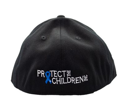 Child Abuse Awareness Hat Curve Bill w/ Awareness Ribbon and Protect The Children Inc Back